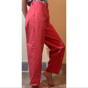 L.L. Bean Red Straight Leg Mom Jeans, US 8
